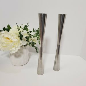 """MCM Silver Candle Holders 12"""" Set of 2 Atomic"""